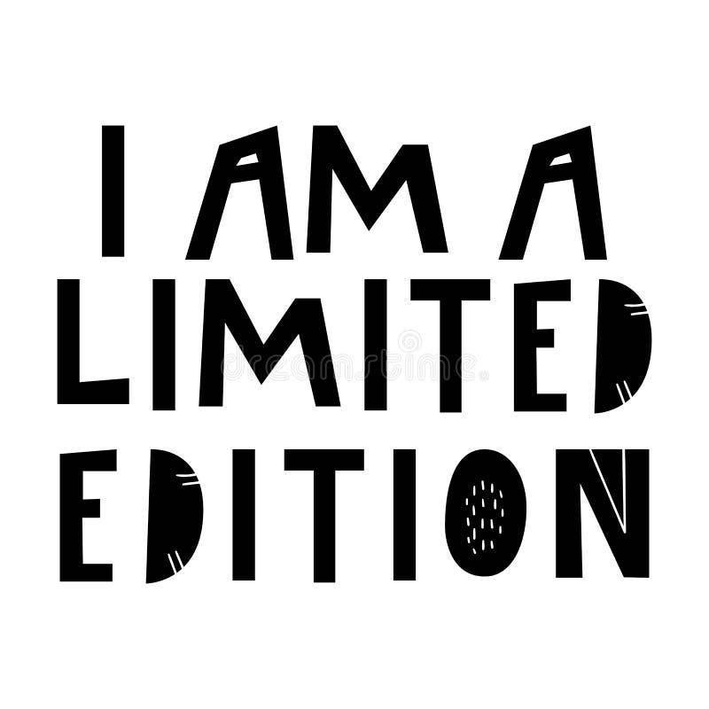 我是有限版-手拉的字法托儿所海报 在斯堪的纳维亚样式的黑白传染媒介例证 向量例证