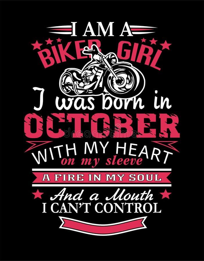 我是骑自行车的人女孩设计T恤杉 库存例证