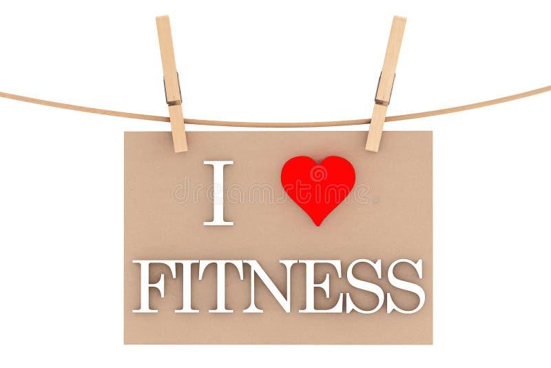 我爱与垂悬与晒衣夹的心脏的健身 免版税库存图片