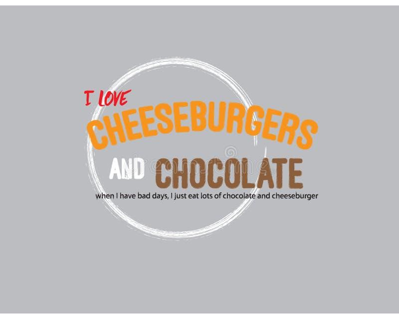 我爱乳酪汉堡和巧克力 向量例证