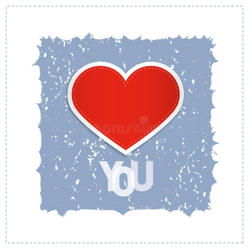 我爱你与红色心脏的题材 向量例证