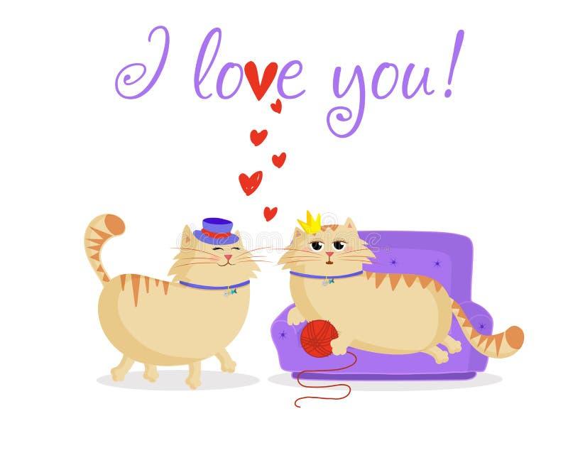 我爱你与逗人喜爱的动画片猫夫妇的贺卡在爱 皇族释放例证