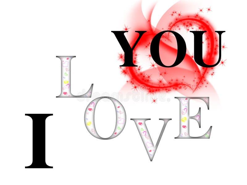 我爱你与颜色心脏和白色背景和大红色心脏的题字 皇族释放例证