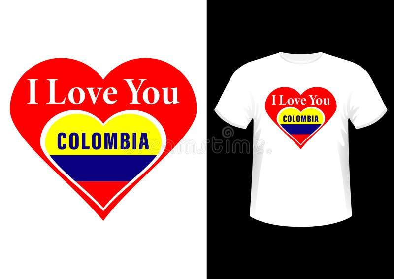 我爱你哥伦比亚、时髦的时兴的设计口号、标志、商标、图表和印刷品在T恤杉 向量例证