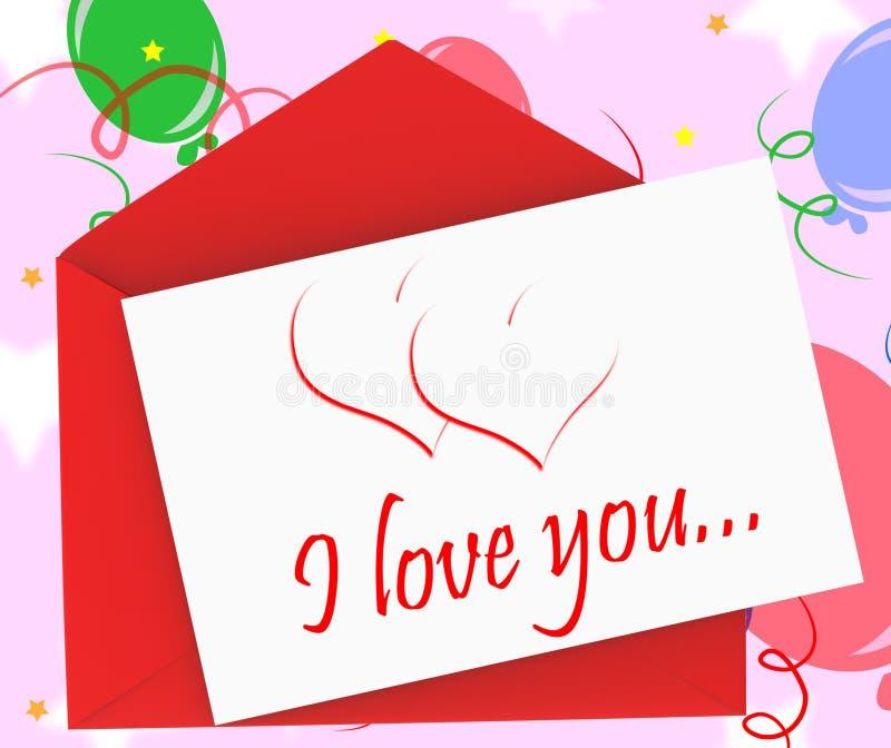 我爱你在信封显示周年卡片 库存例证