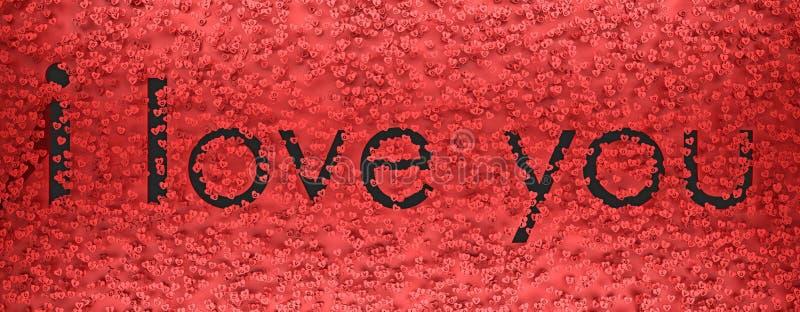 我爱你在心脏3d翻译中的标志发短信 皇族释放例证