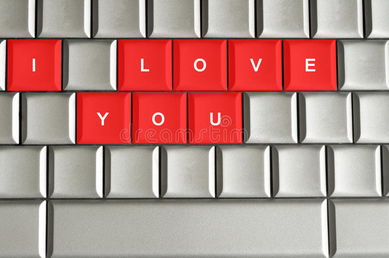 我爱你拼写在金属键盘 皇族释放例证