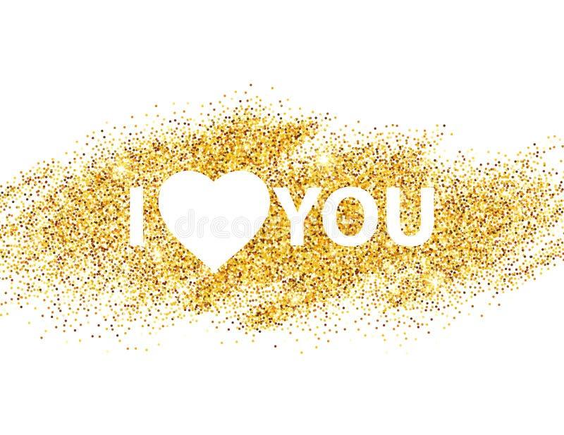 我爱你消息和心脏金黄闪烁设计 向量例证