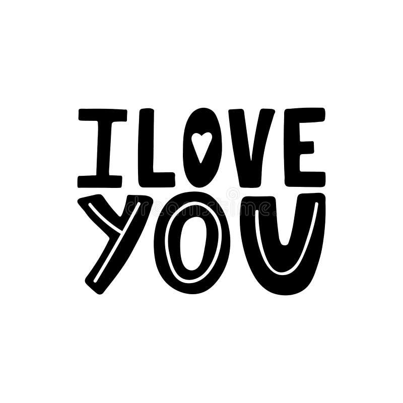 我爱你独特的手拉的激动人心的行情 T恤杉印刷品的,横幅五颜六色的字法 现代乱画字法 愉快 库存例证