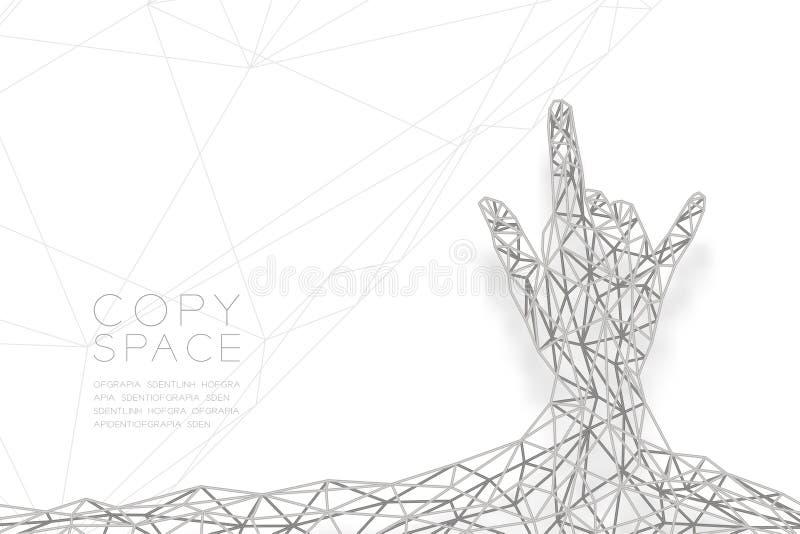 我爱你递手势语形状后面视图wireframe多角形银框架结构,华伦泰构思设计例证 向量例证