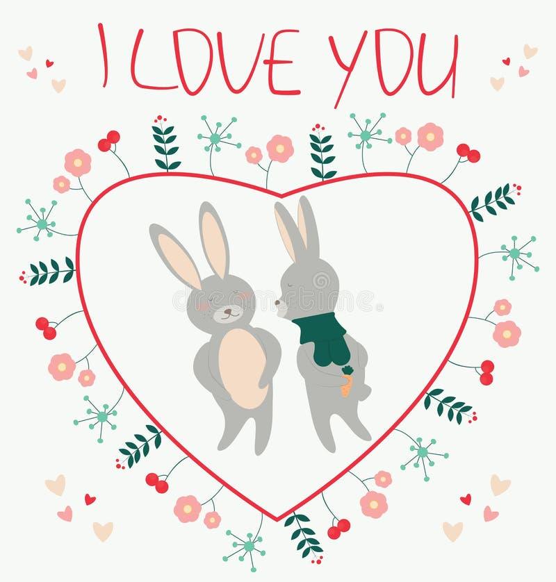我爱你 与夫妇兔子恋人illustratio的浪漫卡片 库存例证