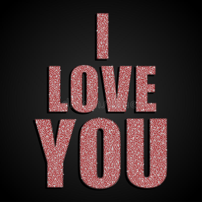 我爱你 夫妇日例证爱恋的华伦泰向量 红色衣服饰物之小金属片 库存例证