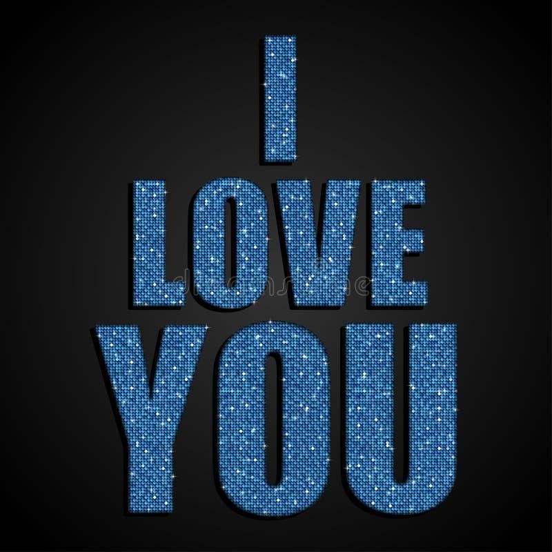我爱你 夫妇日例证爱恋的华伦泰向量 蓝色衣服饰物之小金属片 向量例证
