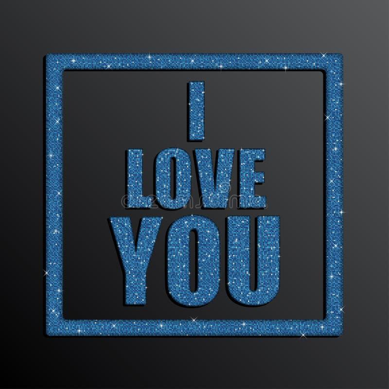 我爱你 夫妇日例证爱恋的华伦泰向量 蓝色衣服饰物之小金属片 皇族释放例证