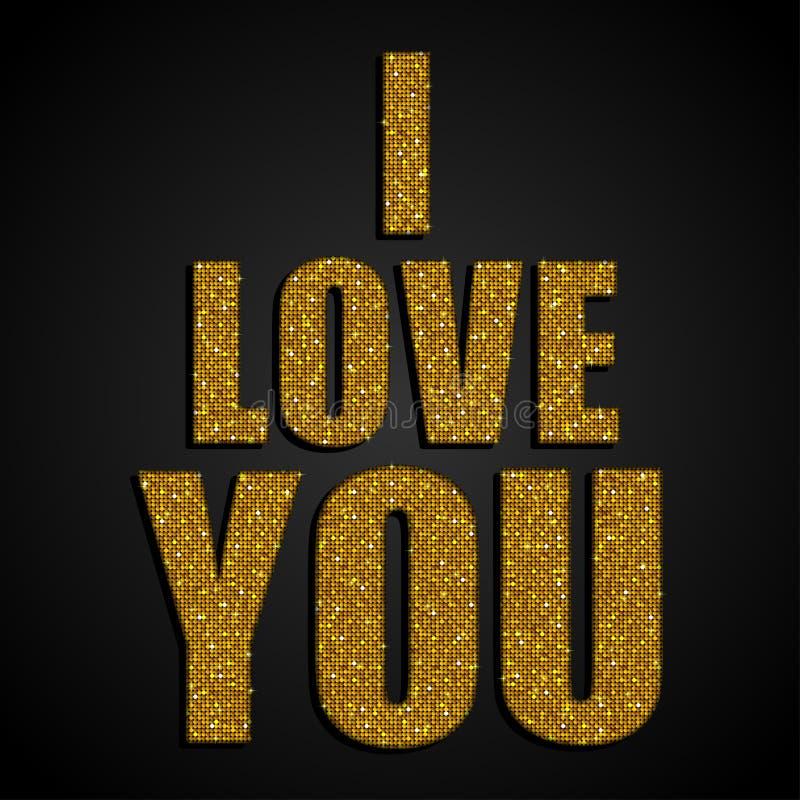 我爱你 夫妇日例证爱恋的华伦泰向量 金衣服饰物之小金属片 向量例证