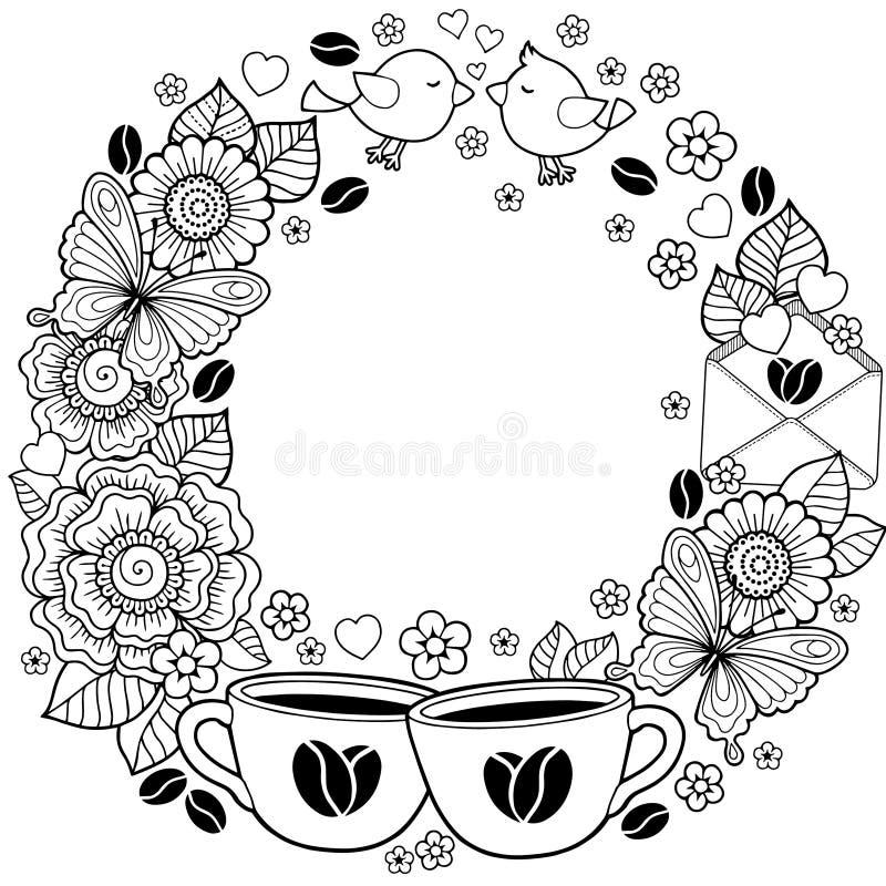 我爱你 玩得高兴 抽象背景由花、杯子、蝴蝶和鸟做成 向量例证