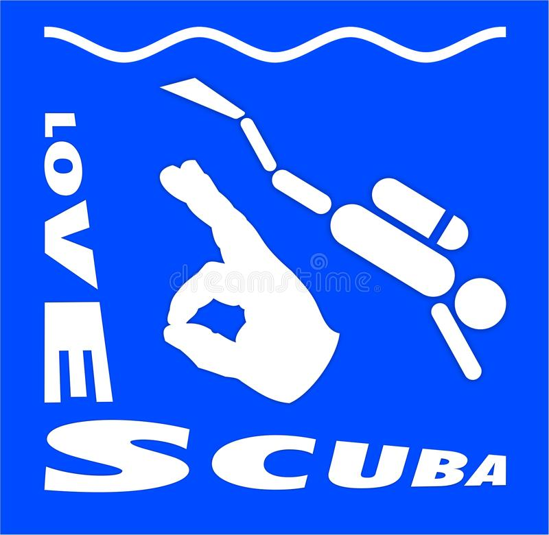 我爱佩戴水肺的潜水 库存图片