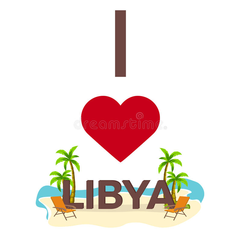 我爱利比亚 旅行 棕榈,夏天,躺椅 传染媒介平的例证 皇族释放例证