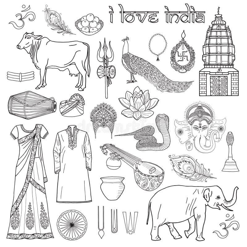 我爱印度 套印地安对象和标志Om,有用为co 库存例证