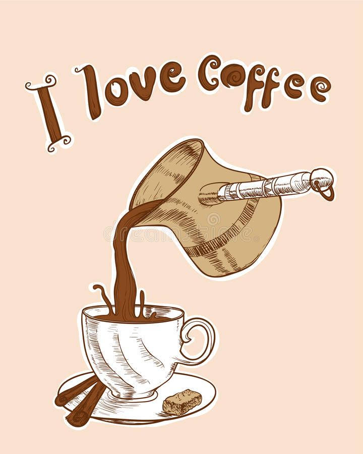 我爱咖啡 库存例证