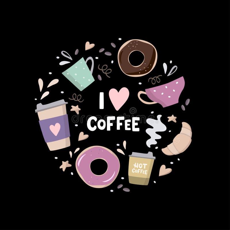 我爱围绕构成的咖啡与咖啡例证 咖啡去的,咖啡罐、杯子、新月形面包、曲奇饼和设计 库存例证