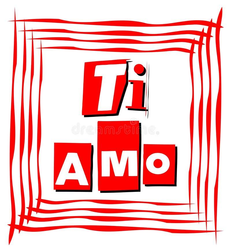 我爱在红色的卡片在意大利语 库存例证