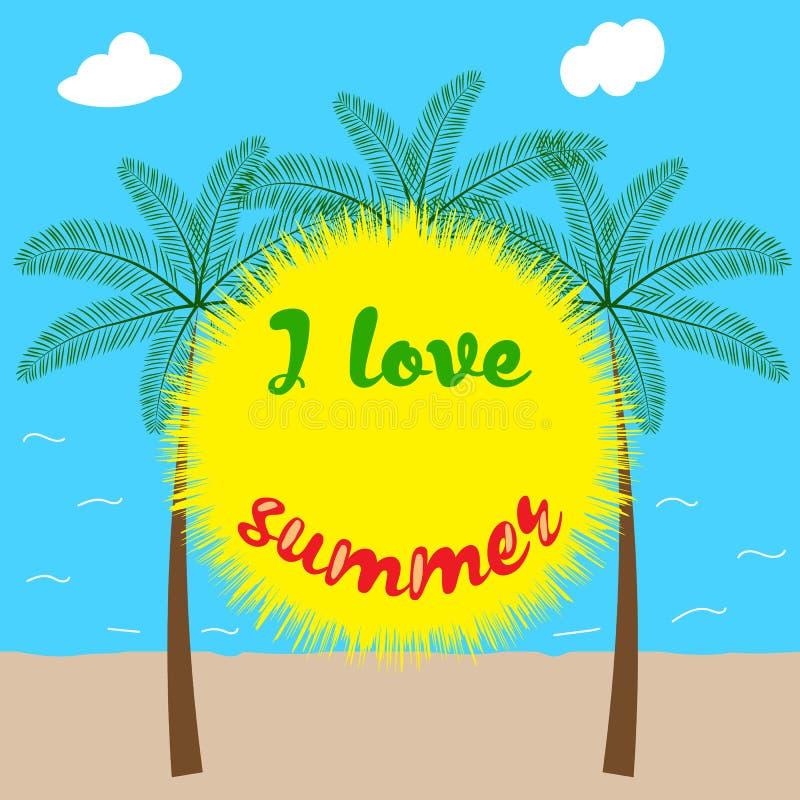 我爱夏天,装饰背景 库存例证