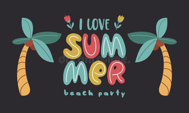 我爱夏天 与乐趣夏天例证的传染媒介模板 设计元素为夏天概念和其他使用 库存例证