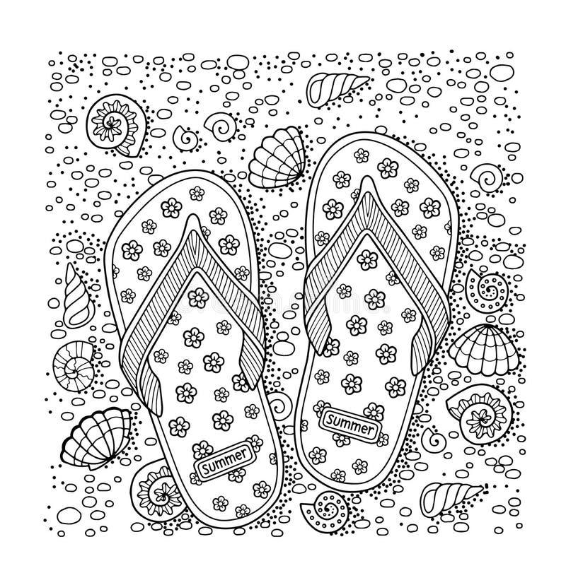 我爱夏天 海滩小径码头海运 拖鞋、沙子和壳 手拉的啪嗒啪嗒的响声凉鞋 向量例证