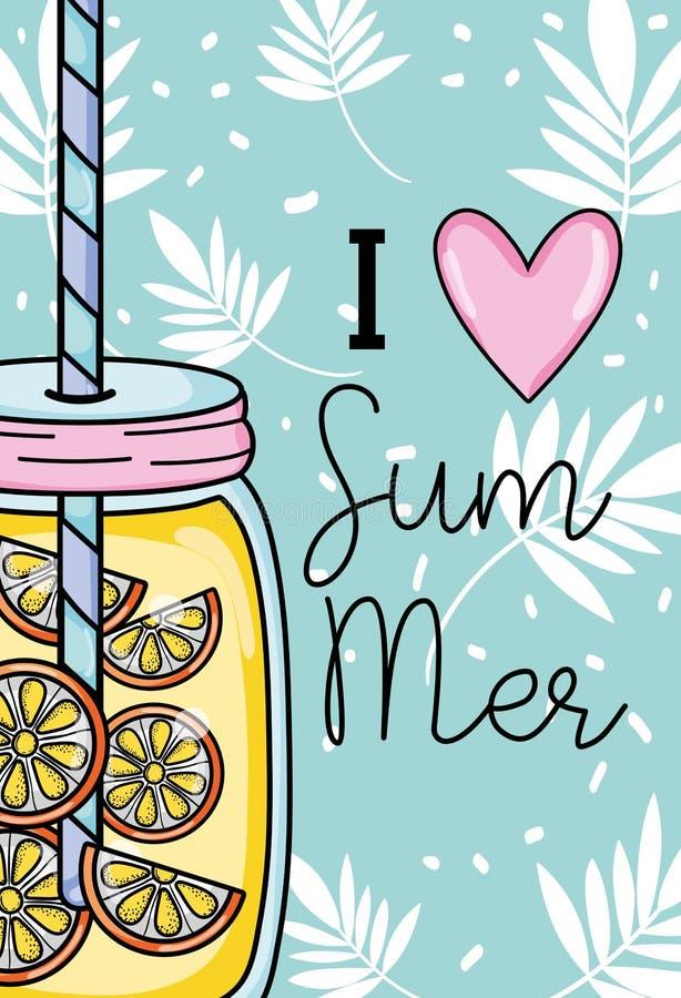 我爱夏天 向量例证