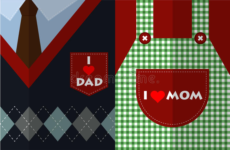 我爱妈妈,并且我爱爸爸平的设计传染媒介 向量例证