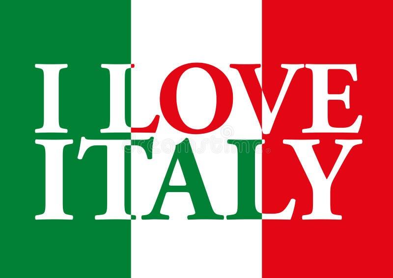 我爱意大利和意大利旗子 皇族释放例证