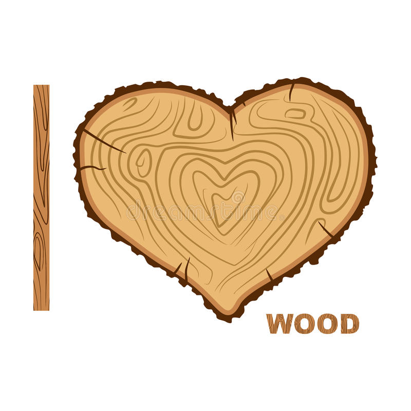 我爱木头 切口树作为心脏的标志 传染媒介illustrat 皇族释放例证