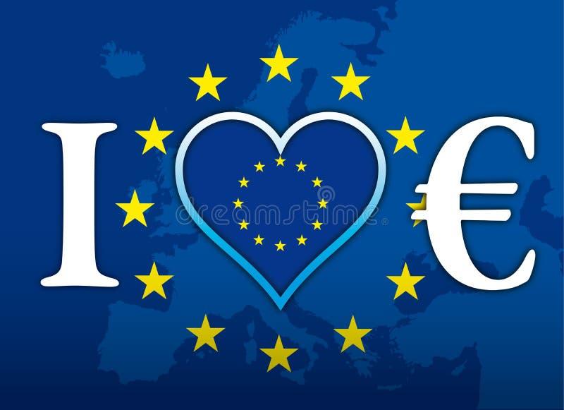 我爱欧洲和欧洲货币,旗子,与欧洲标志的例证 向量例证