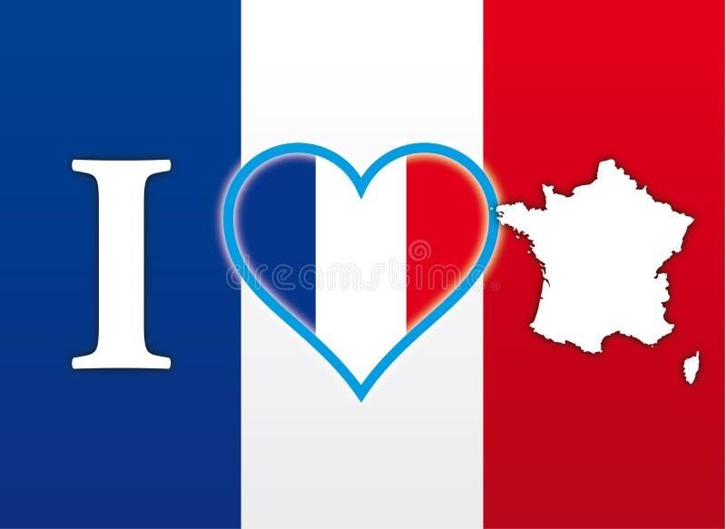 我爱法国、旗子、心脏和地图,例证 库存例证