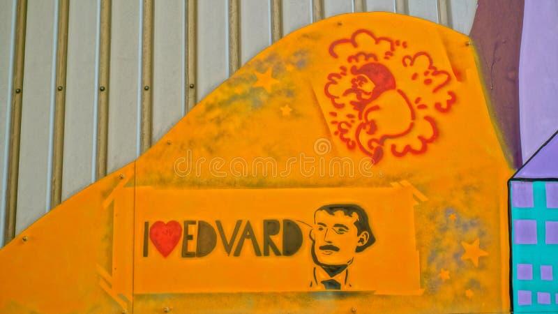 我爱爱德华・蒙克的壁画 图库摄影