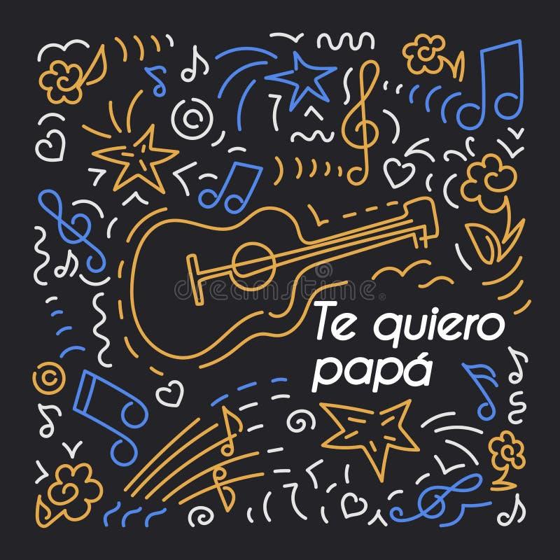 我爱爸爸,用西班牙语 生日贺卡,父亲节 免版税库存照片