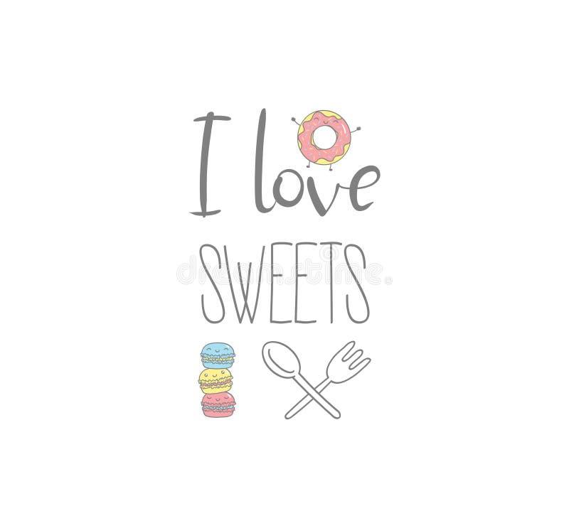 我爱甜点海报 库存例证