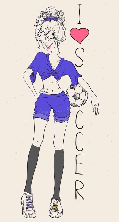 我爱的橄榄球 有足球的美丽的运动妇女 库存例证