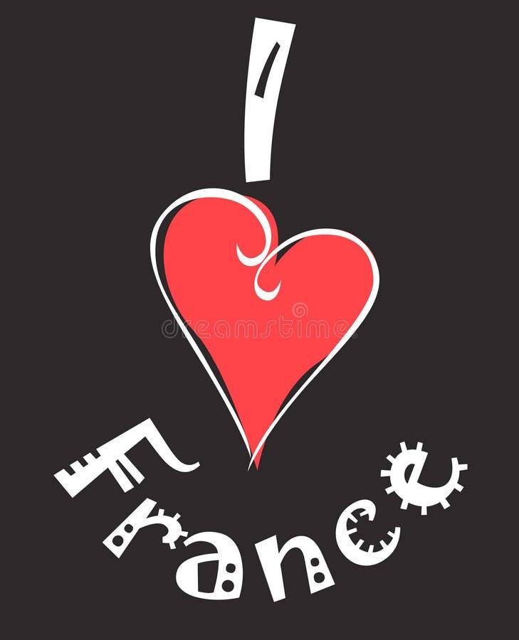 我爱的法国 向量例证