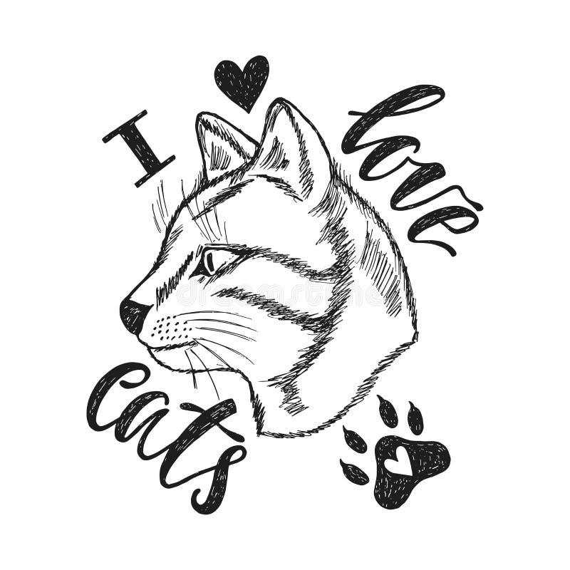 我爱的猫 与手拉的单色猫的手写词组 皇族释放例证