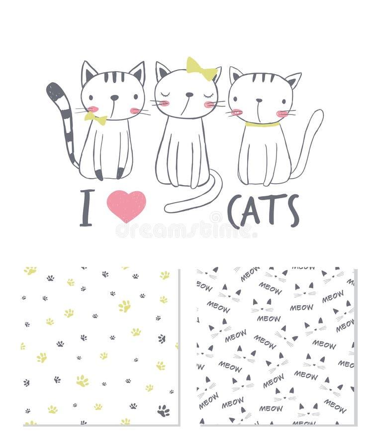 我爱的猫 表面设计和2个无缝的样式 库存例证