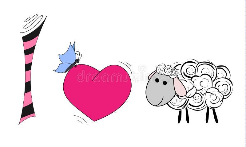 我爱羊羔 我爱绵羊 动画片绵羊的例证 皇族释放例证