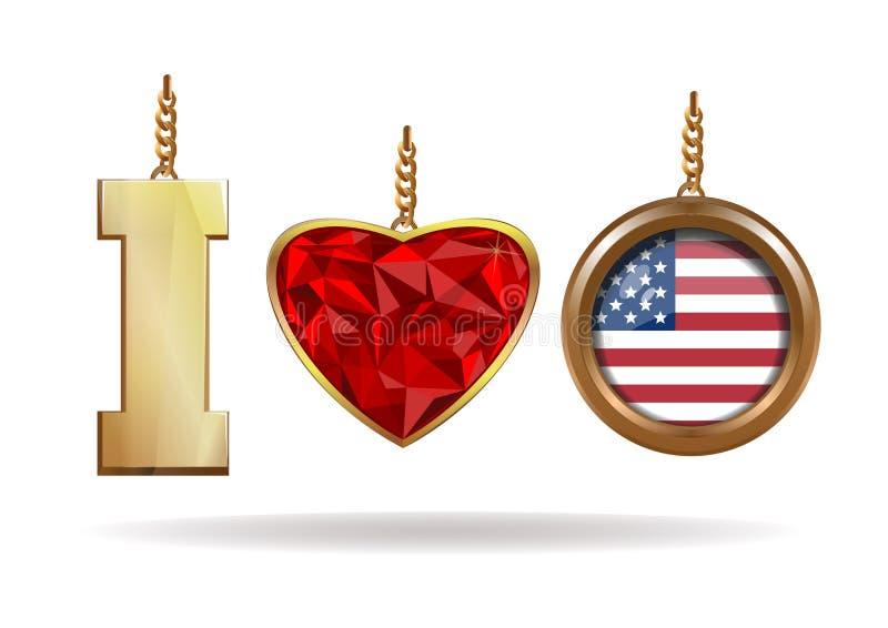 我爱美国 爱国首饰 我爱的美国 库存例证
