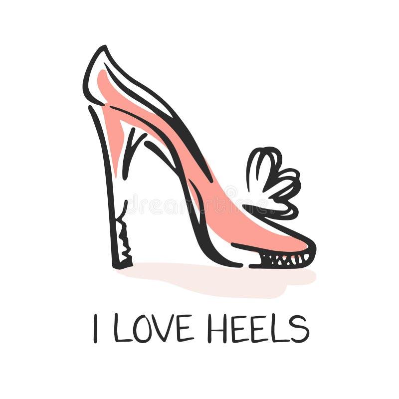 我爱脚跟,时尚象征 库存例证