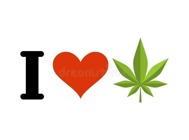 我爱药物 心脏和大麻叶子 抽烟的爱好者的象征能 皇族释放例证