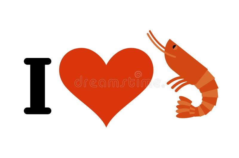 我爱虾 心脏和海洋浮游生物 海鲜恋人的商标 向量例证