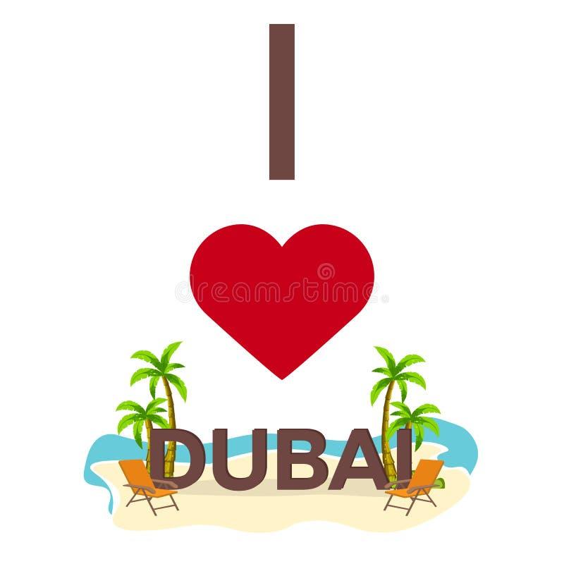我爱迪拜 旅行 棕榈,夏天,躺椅 传染媒介平的例证 皇族释放例证