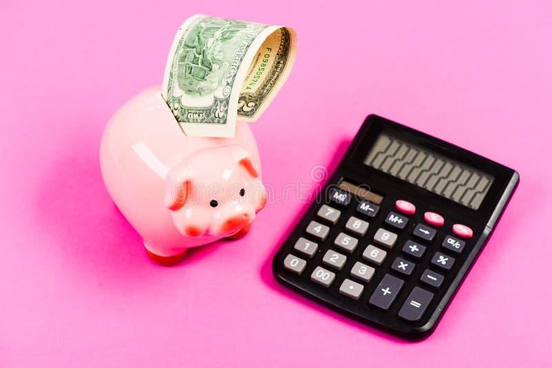我爱金钱的气味 计划和计数预算 与计算器的moneybox r 收入资本管理 库存图片