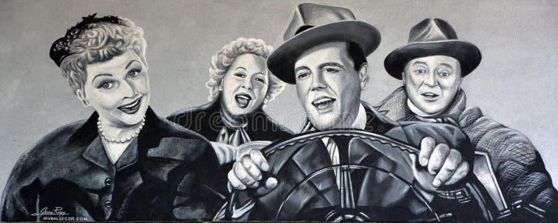 我爱露西壁画 免版税库存照片